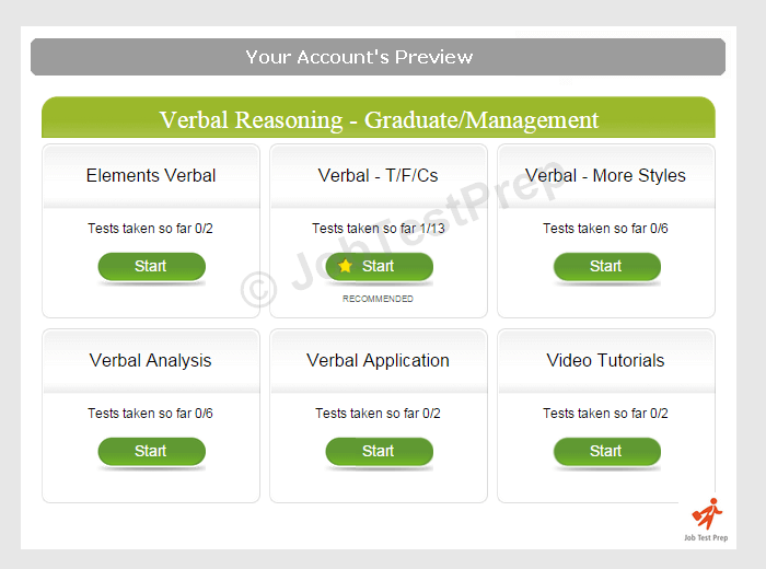 Verbal Reasoning Test Account Preview