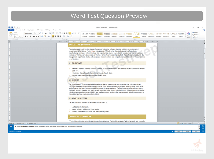 sample ms word test