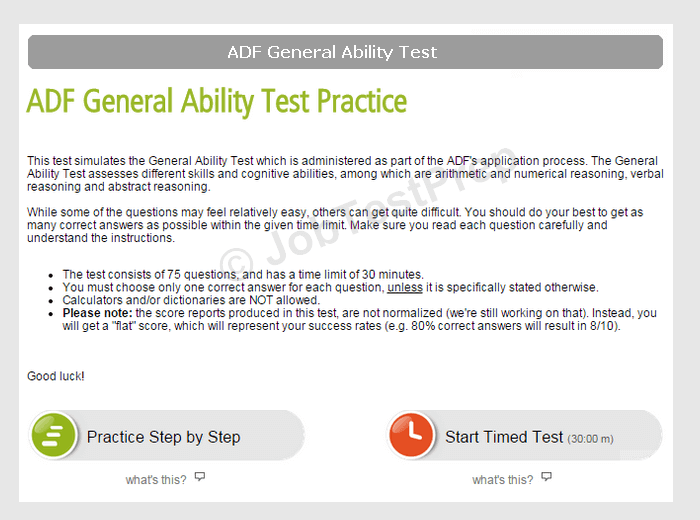 adf general ability test