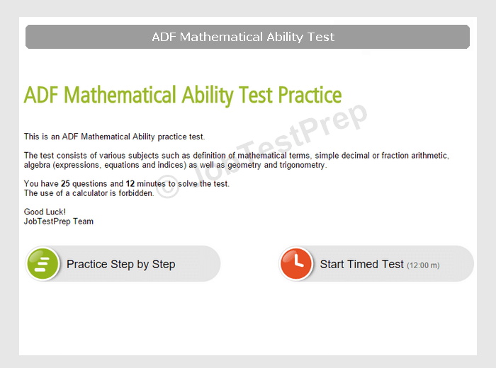ADF Mathematical Ability Test Practice: Prepare for YOU Session