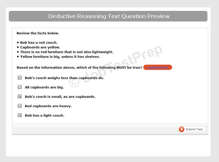 Deductive Reasoning Test Sample