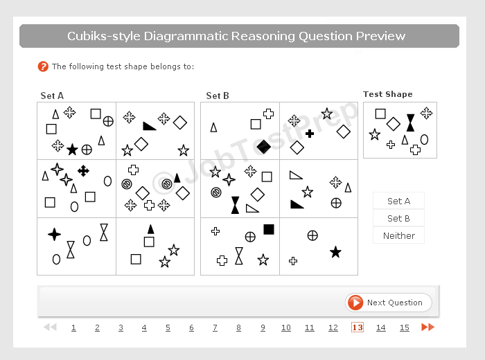 Cubiks style Diagrammatic Test sample