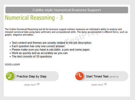 Cubiks-Style Numerical Reasoning Business Support