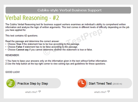 Cubiks Style Verbal Reasoning Test Instructions