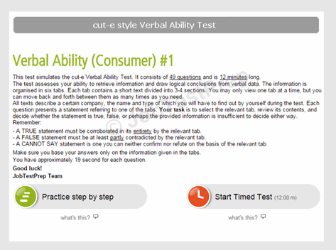 cut-e style Verbal Ability Test Intructions