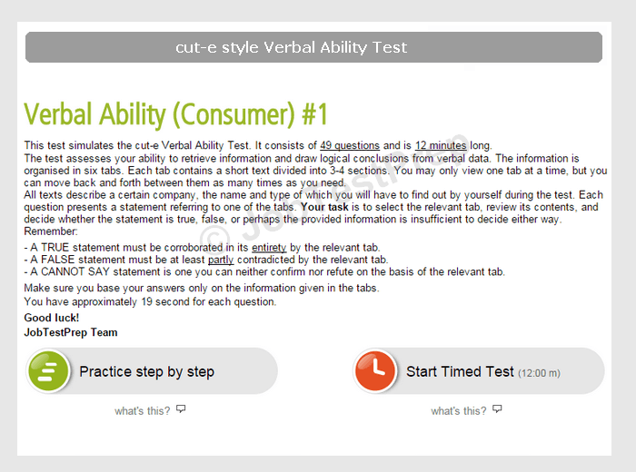 cut-e verbal ability tests preparation