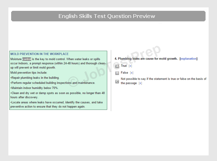 English Assessment Test Preparation