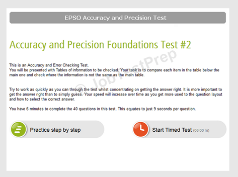 EPSO accuracy and precision test My page