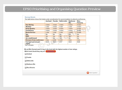 EPSO Prioritising and Organising Question Preview
