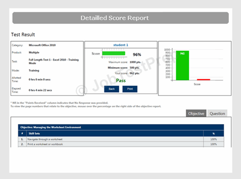 Excel Assessment Test Score Report Sample