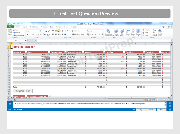 Excel worksheet practice test