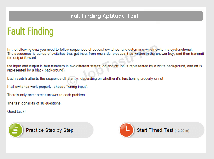 Fault Diagnosis Aptitude Tests