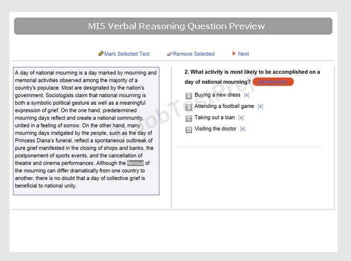 mi5 verbal reasoning test practice - with score reports  answers and explanations