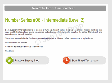 Non Calculator Number Series Test Instructions