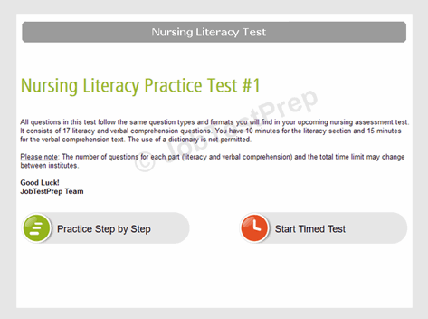 Nursing Literacy Test Instructioms