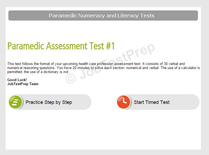 Paramedic Numeracy and Literacy Tests Preparation - JobTestPrep