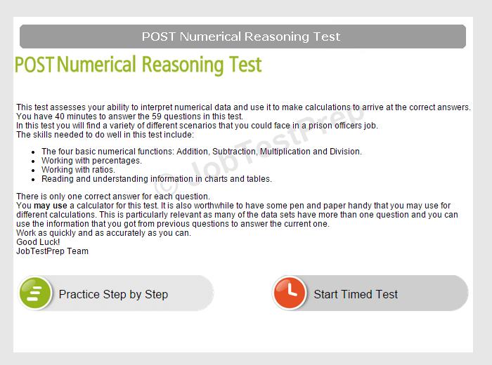 prison officer numeracy test preparation