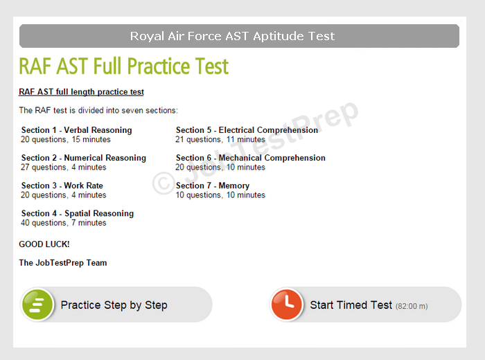 raf aptitude test - practice for the selection test