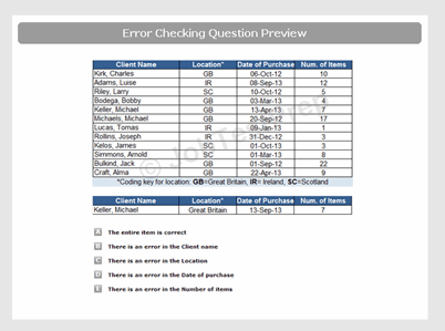 Error Checking Test Sample Question