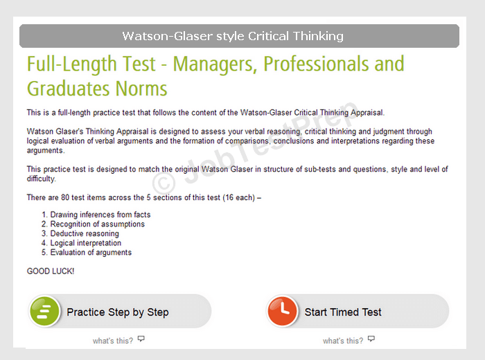 average score on watson-glaser critical thinking test The watson–glaser critical thinking appraisal  or whether the general score is the only  this software generates the average correlation (r+), a z-test of.