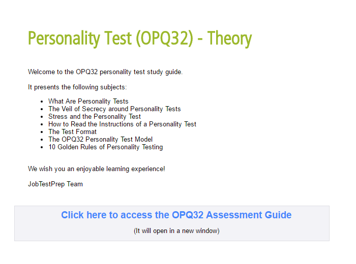 Occupational Personality Questionnaire Free Examples Practice