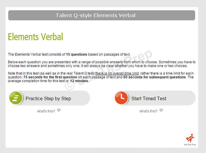 Talent Q–style Elements Verbal Test
